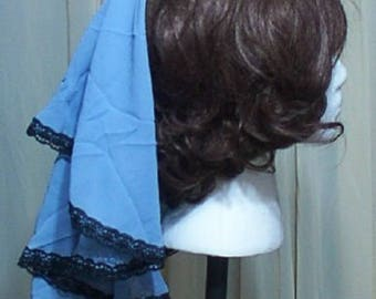 Burlesque fascinator hat with blue sheer drape Victorian Steampunk Lolita  bonnet trimmed with black lace Geechlark a63