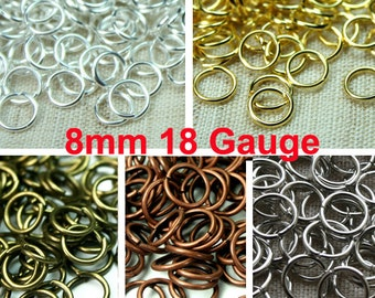 8mm 18 Gauge Open Jump Rings Professional Heavy Strong, Silver, Gold, Antique Brass, Antique Copper, Antique Silver - 100 pcs - Pick Finish