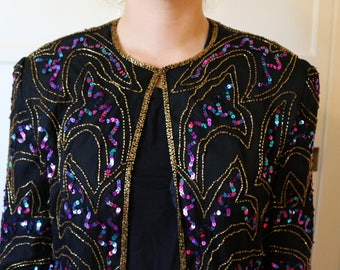 80s Vintage Silk Lined Beaded Sequined Light Weight Jacket