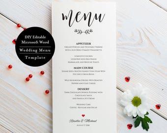 printable menu, Menu template, Rustic wedding menu template, Printable wedding menu printable, Wedding menu, Instant Download, MSW127