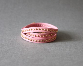 3 Layered Leather Bracelet with Gold Studs (Pink)