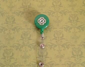 Green Celtic Knot Retractable Badge Reel