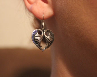 Batty hearts earrings- white metal work heart earrings