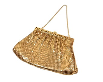 vintage 1940's WHITING & DAVIS mesh purse / gold / metallic metal / chain strap handbag / women's vintage purse