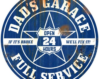 Dads Garage Wall Decal Rusted Blue #45825