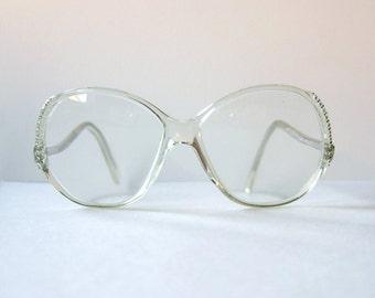 Vintage 1980 s strass lunettes femmes lunettes cadre clair Lunettes strass clair Lunettes Mod grand translucide