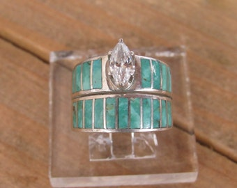 Vintage Sterling Silver Turquoise Wedding Ring Size 6.5
