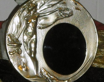 Art Nouveau Goddess Frame - French 1920s - with Black Glass Scrying Mirror - Silver Plated Brass