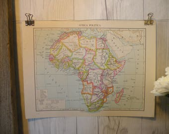 Vintage africa map etsy 1961 vintage map africa cool old map world map map art global gumiabroncs Choice Image