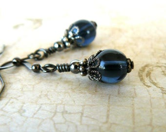 Montana Blue Earrings, Denim Blue Glass Bead Dangles, Vintage Inspired Jewelry, Blue Grey and Gunmetal Earrings, Gift For Her