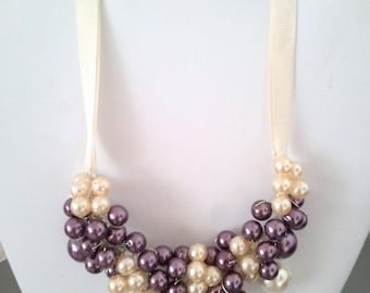 Sale - 30% creamy pearls and purple necklace