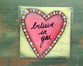 "SALE! Heart Print, 5""x5"" Heart Art, Inspirational Art Print, Whimsical Heart, Mixed Media Print, Sale Print, Clearance print Believing Heart"