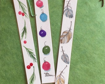 Set of Three Original Skinny, Laminated,  Watercolor Bookmarks