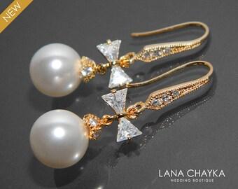 White Pearl Gold Bridal Earrings Swarovski Pearl Gold Bow Earrings Wedding Gold CZ Pearl Dangle Earrings Bridal Pearl Jewelry Prom Earrings