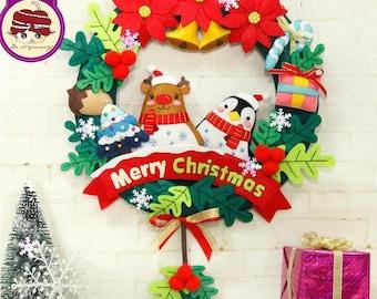 Pre- cut DIY Christmas wreath kit, DIY felt kit, Christmas decor, children room decor, cute Christmas wreath, felt craft