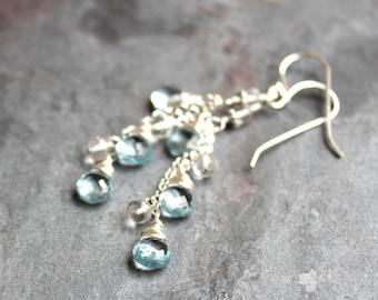 Blue Topaz Earrings Sterling Silver Novmber Birthstone Earrings Waterfall Cascade
