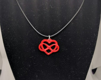 3D Printed Infinity Heart Necklace | 3D Printed Heart | 3D Printed Jewelry | Eco friendly PLA  | Infinity Love