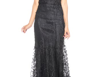 1930s Embroidered Sheer Net Gown With Bias Lining Size: 2
