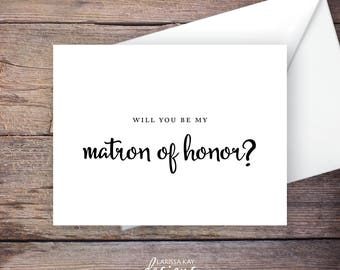 Printable Will You Be My Matron of Honor Card, Black, Instant Download Greeting Card, Wedding Party Card – Carmen