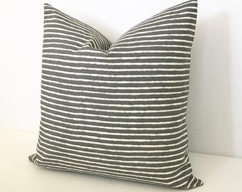 Charcoal gray and white striped decorative pillow cover