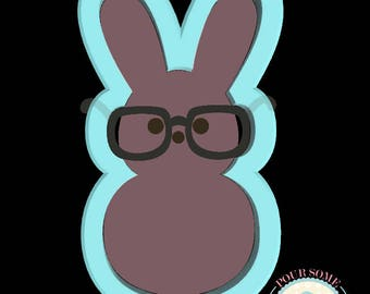 Boy Bunny Peep Glasses Cookie Cutter (Skinny)
