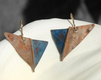 Blue and Grey Checkmark - foldformed copper earrings