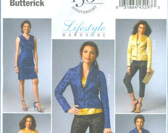 2013 Misses' Jacket, Top and Dress, Skirt and Pants Lifestyle Wardrobe Uncut Factory Fold Size 6,8,10,12,14 - Butterick Sewing Pattern 5995