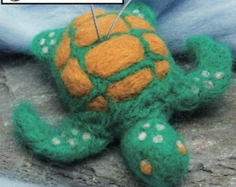 Needle Felting DIY Kit - Sea Turtle 3D Wool Charm - Ship from USA