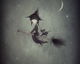 Witch Illustration, Witch Print, Halloween Art, Witch Art, Witch And Cat Print, Moon & Stars, Childrens Room Art, Cute Art, Wall Art