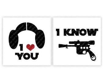 Disney, Star Wars, I Love You, I Know, Buns, Blaster, Princess Leia, Han Solo, Digital, Download, TShirt, Cut File, SVG, Iron on, Transfer
