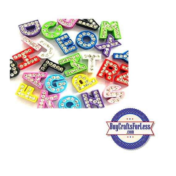 COLORED Rhinestone Silver Slide LETTERS for 8mm slider jewelry-bracelets, collars, chokers, pendants, key rings +FREE Shipping & Discounts*