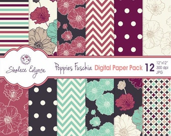 Digitale Floral Paper Pack, Mohnblumen in Fuschia Navy & Minze, 12 x 12-sofort-Download