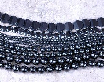 HEMATITE Beads Mixed LOT Round 12mm 8mm 4mm / Lentil 10mm / Faceted Coin 14mm / Designer DESTASH!
