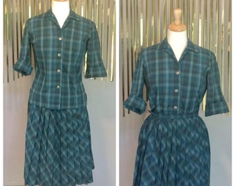 Vintage 50's 2 Piece Pleated Skirt Blouse fit flare Day Dress