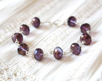 Dreamer Bracelet - Dark Purple Faceted Rondelle Glass Beaded Bracelet, Sterling Silver Jewellery Handmade by Ikuri immortelle, FREE SHIPPING
