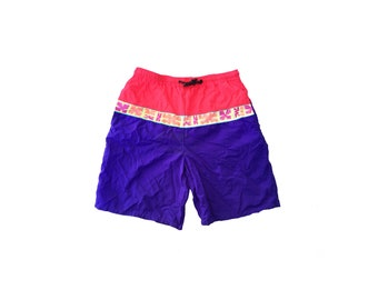 Floral 80s Neon Colorblock Board Short Swim Trunks - 28 to 36