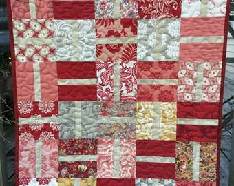 Red Vintage look Wall Quilt