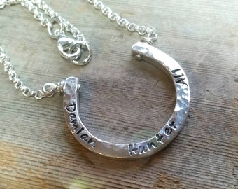 Horseshoe Sterling Silver Necklace - Custom Engraved Personalized Mothers Necklace - Good Luck Cowgirl Statement, Childrens Name Pendant