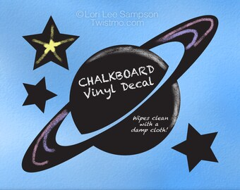 Outer Space Decor Chalkboard Decal | Outerspace Planet & Stars Vinyl Chalk Board | Kids Bedroom Decor, Kitchen Decal, Kids Playroom Decor
