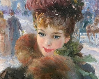 A Winter Afternoon in the Champs Elysees - Counted cross stitch pattern in PDF format
