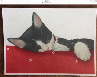"black and white cat painting ""Sophisticat"""
