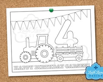 Tractor, Hayride, Farm, Birthday Party, Personalized Printable Coloring Sheet, Coloring Page, Printable Party Activity, Kids Party Favor
