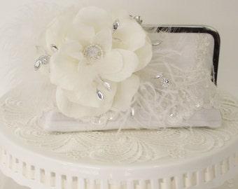 White Bridal Clutch / Vintage Bride / French Country Wedding / Garden Wedding / Wedding Clutch