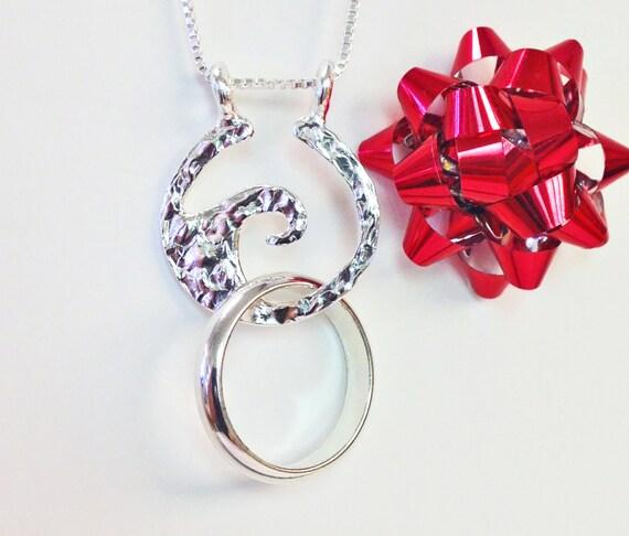 Ring Holder Necklace Wave Ring Necklace Holder Ring Holder Pendant Wedding  Ring Holder Engagement Ring Holder
