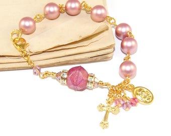 Christian Rosary Bracelet, Swarovski Pearls with Gold Holy & Holy Family Spirit Medal