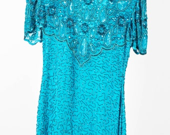 Stunning Turquoise Vintage Sequin Dress with Fron Beaded Detail - UK 8 - US4 Size