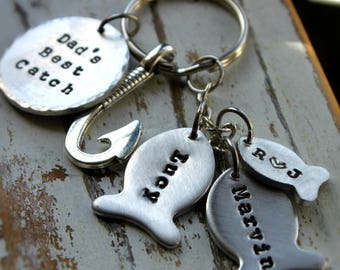 Personalized Hand stamped Fishing Keychain Customized for you! Dad's Best Catch. Hooked. Custom Line of Fish. Valentine Day gift. Hooked