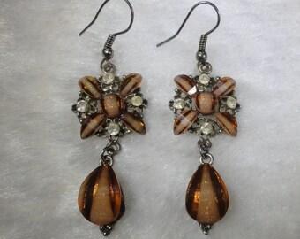 Copper Colored Givre Glass Iridescent Sparkle and Rhinestone Art Nouveau Style Dangle Drop Earrrings