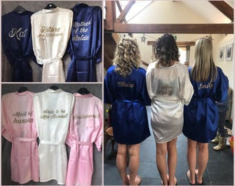 Personalised Bride Bridesmaid Silk Satin Kimono Dressing Gowns Custom Wedding Morning White Black Blue Pink Red