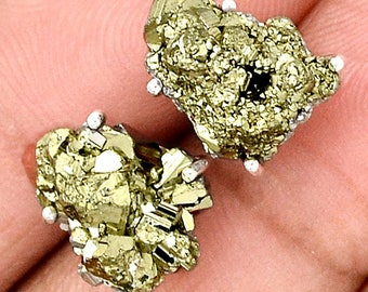 """Glimmering Pyrite in Sterling Silver Earring Pair. Studs. 3/4"""" large. 6653"""